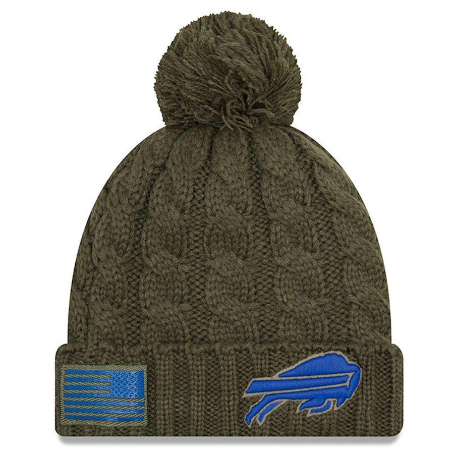 9fbfc6ace8f Women s Buffalo Bills New Era Olive 2018 Salute to Service Sideline Cuffed  Pom Knit Hat