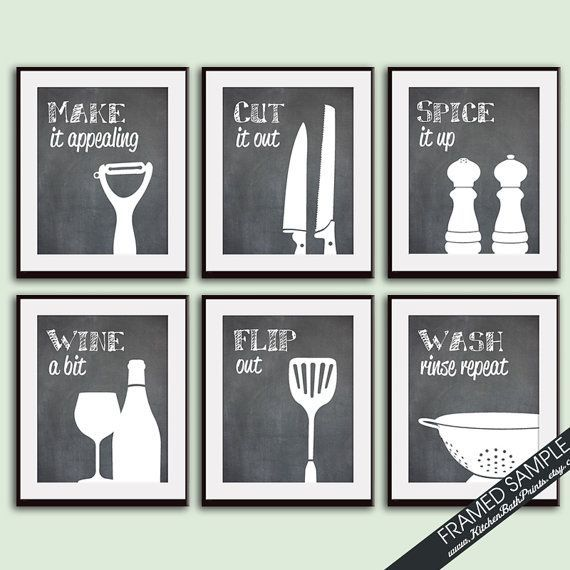 Charmant Funny Kitchen Art Print Set (Set Of   9 Art Prints) (Featured On  Blackboard) Funny And Modern Kitchen Quotes