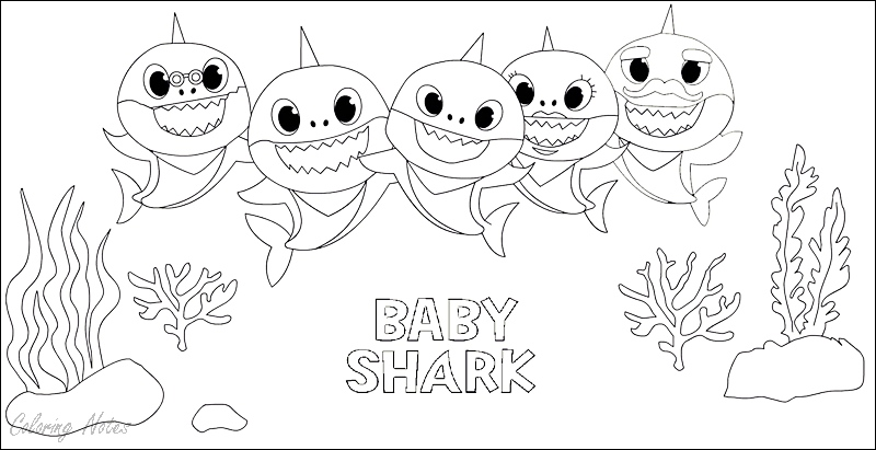 Baby Shark Coloring Pages For Kids Easy And Free Shark Coloring Pages Baby Shark Coloring Pages