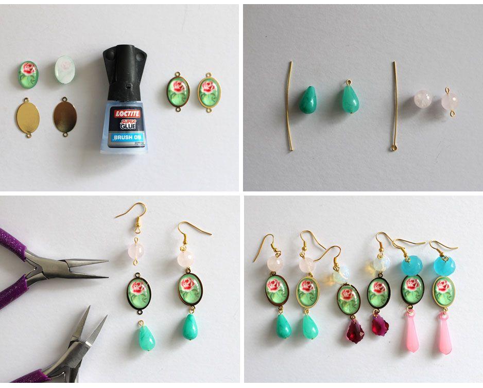 Diy cabochon flower earrings jewelry from home blog earring diys pinterest flower - Cabochon selber machen ...