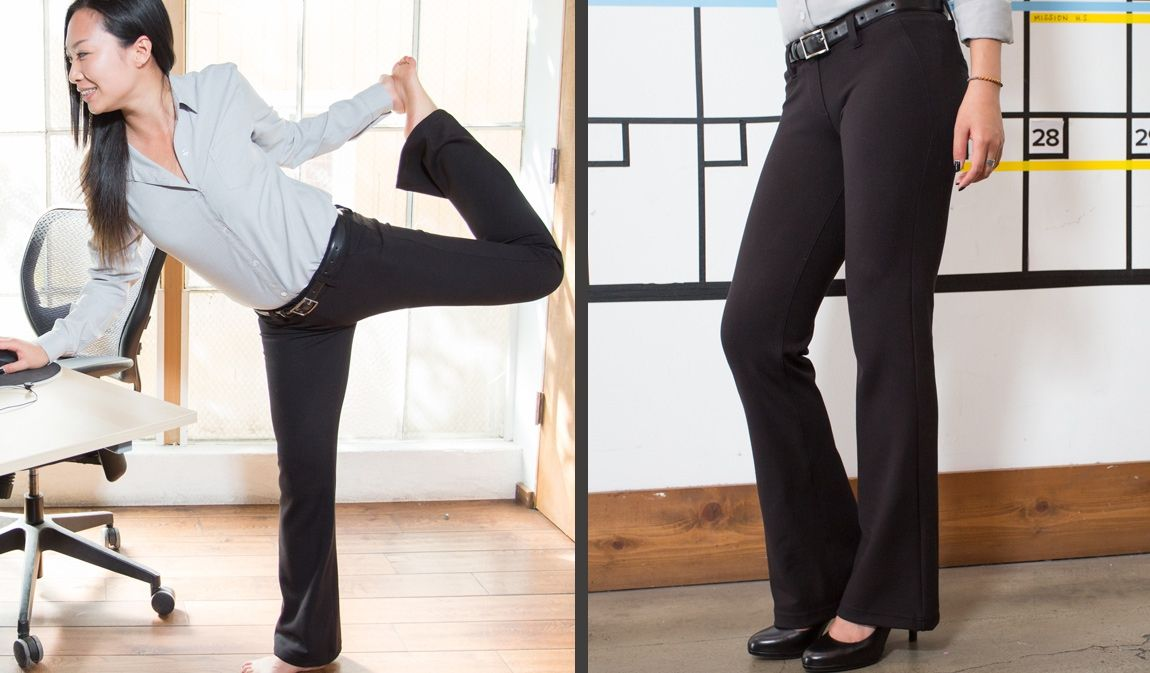 9c65f8294a The Boot-Flare Black Dress Pant Yoga Pants are business-slack-styled boot-cut  pants that are made with a soft-and-stretchy performance knit.