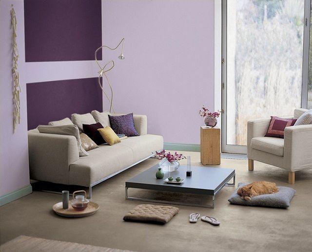 Wohnzimmer Wandfarbe Lila Geometrische Muster