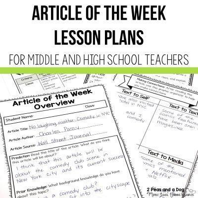 Article of the Week Lesson Ideas for Middle and High