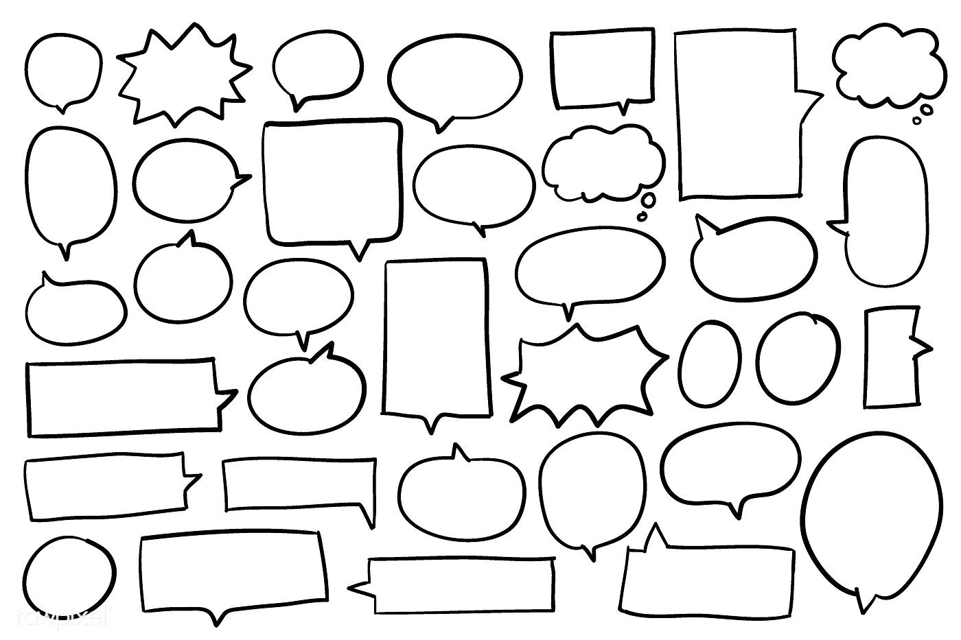 Collection of speech bubbles vector free image by