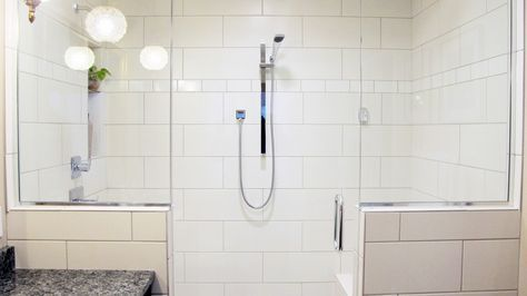 Steam Shower Walk In Glass Enclosed White Large Format Subway Tile Stagger Chrome Fixtures Pony Walls White Subway Tile Shower Subway Tile Showers Shower Tile