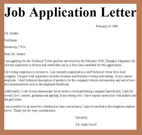 How to write an application letter of a job