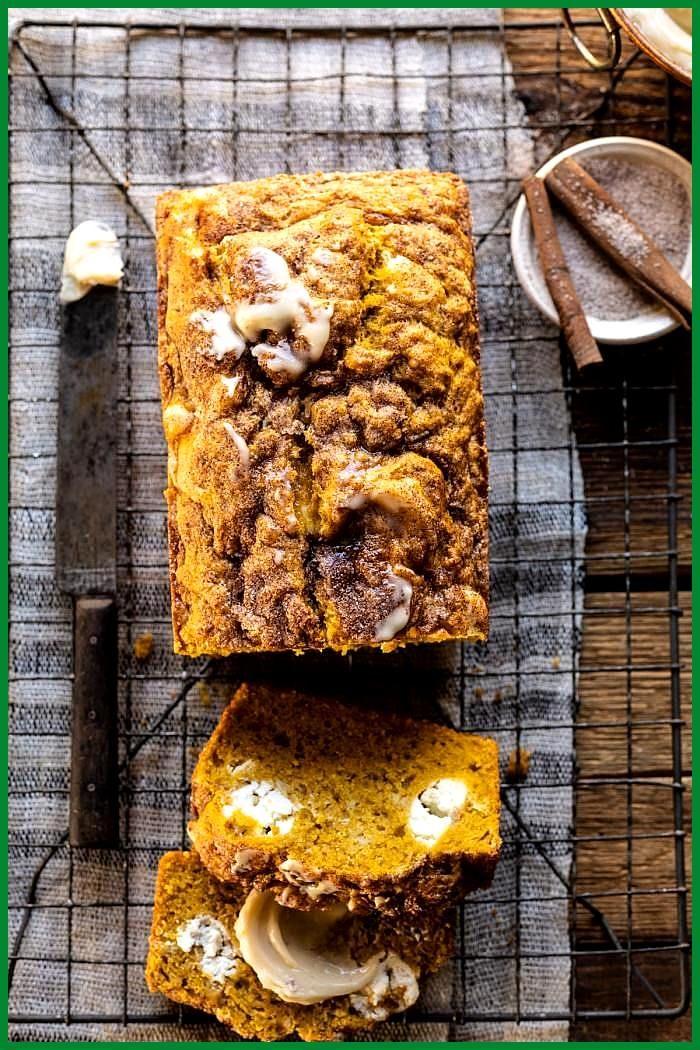 Cream Cheese Swirled Pumpkin Bread with Salted Maple Butter Cream Cheese Swirled Pumpkin Bread with