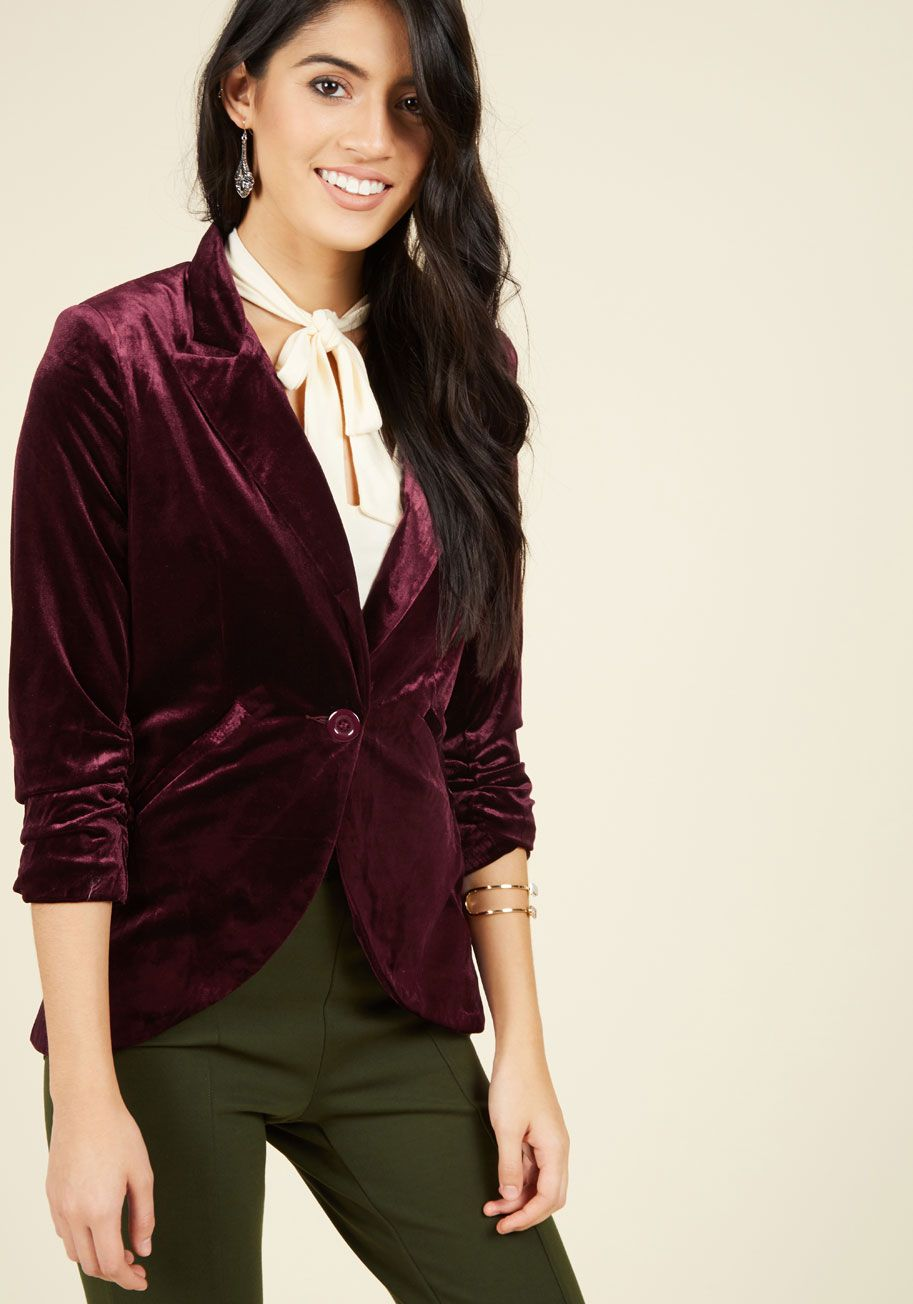 2c8e604b2 ModCloth blazer that I covet now because Mitali Bunce wore a velvet wine-colored  jacket the day she gave Davy the stern talking-to he deserved #goals