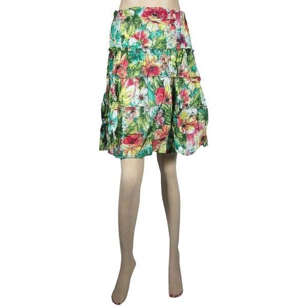 Womens Bohemian Skirts Mini Skirt Multi Color Printed Tiered Cotton... ($14) via Polyvore