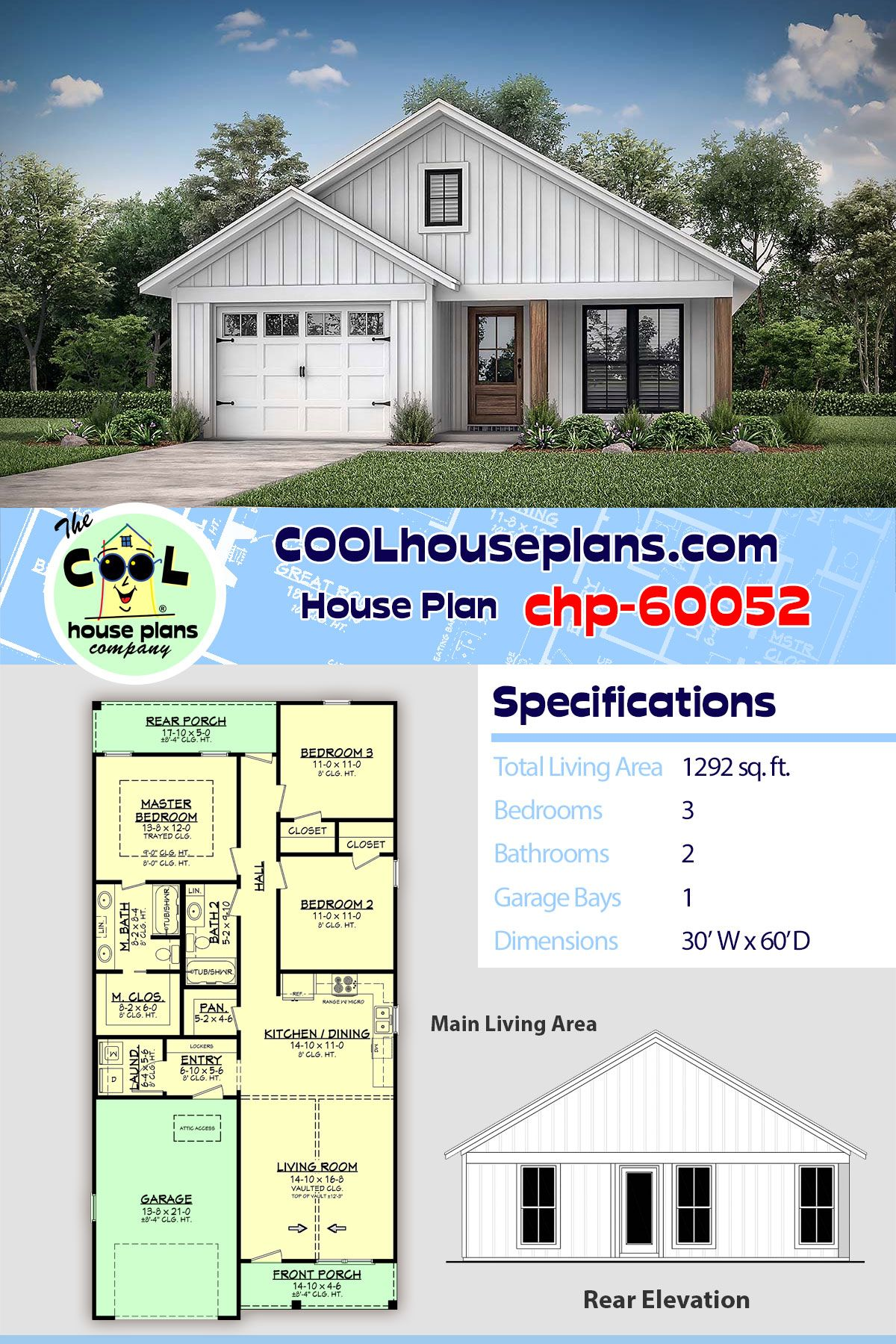 1292 Sq Ft Narrow House Plan Under 30 Ft In Width Chp 60052 At Cool House Plans 3 Beds 2 Baths Narrow House Plans Narrow Lot House Plans House Plans