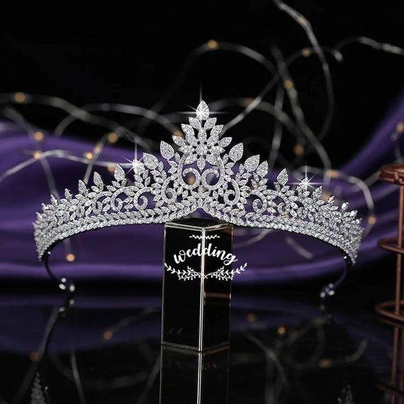 Bridal Tiara with Swarovski Crystals-Bridal Hair Accessories-Bridal Hair Jewellery-Bridal Crown- Tiara-Silver Tiara-Crystal Brides Tiara