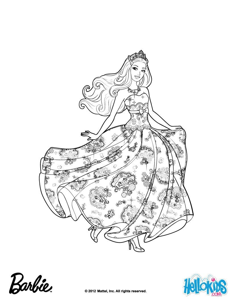 Barbie is princess Tori Barbie coloring page More Barbie the Princess & the Popstar coloring Barbie MalvorlagenDie Prinzessin