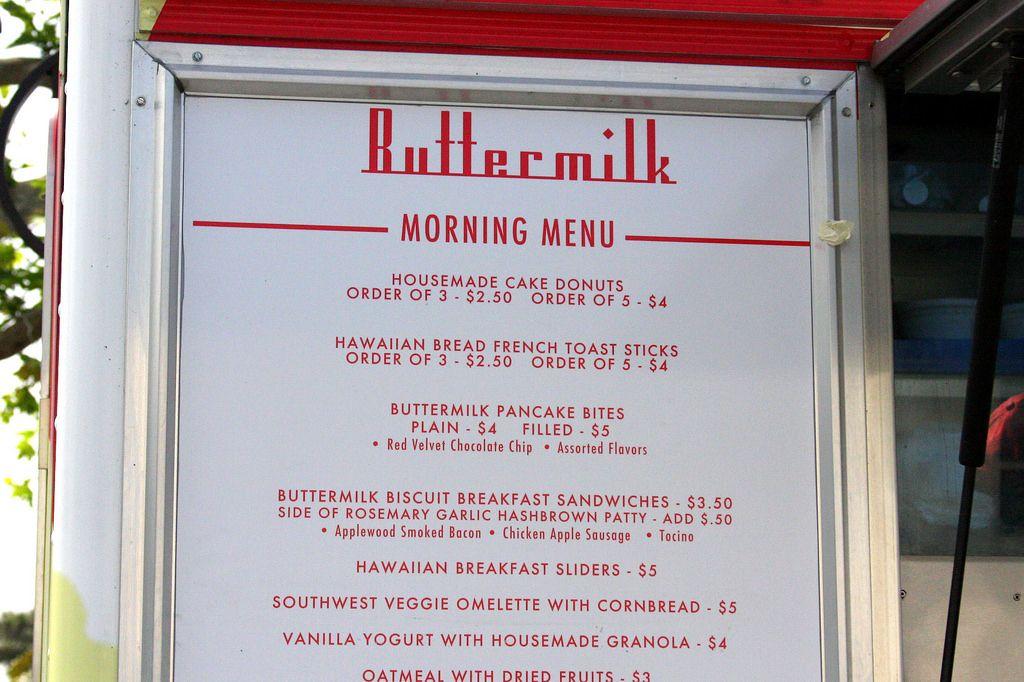 Menu Board at Buttermilk Food Truck Food truck menu