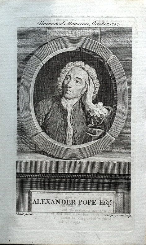 ALEXANDER POPE Engraved for The Universal Magazine of Knowledge and Pleasure Published London 1747 by John Hinton A copper engraved antique portrait