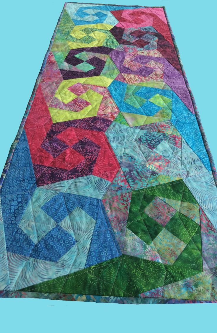 Quilted Batik Table Runner, Colorful Beachy Home Decor