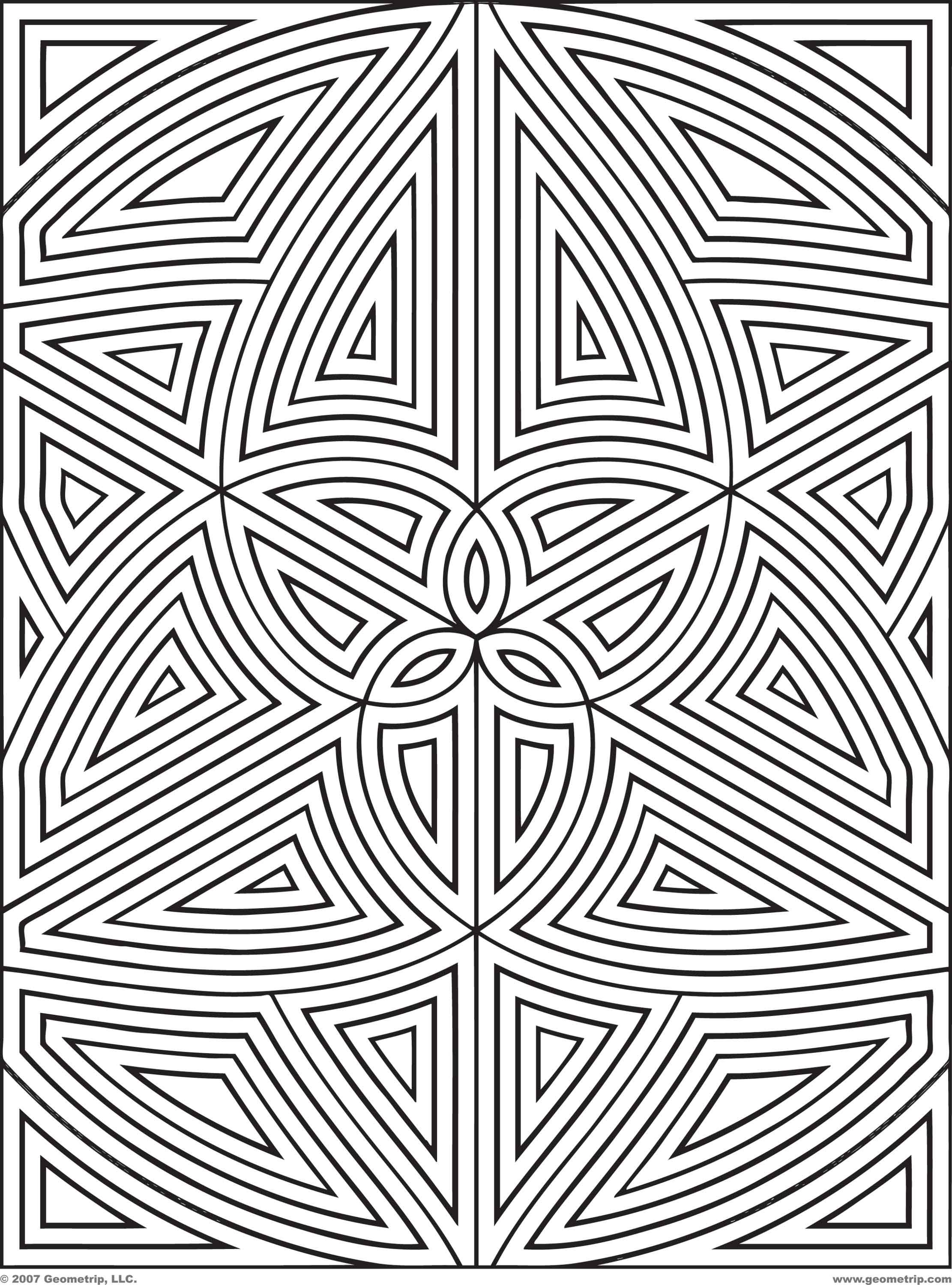 Difficult Geometric Design Coloring Pages | Rectangles: Page 1 of 2 ...