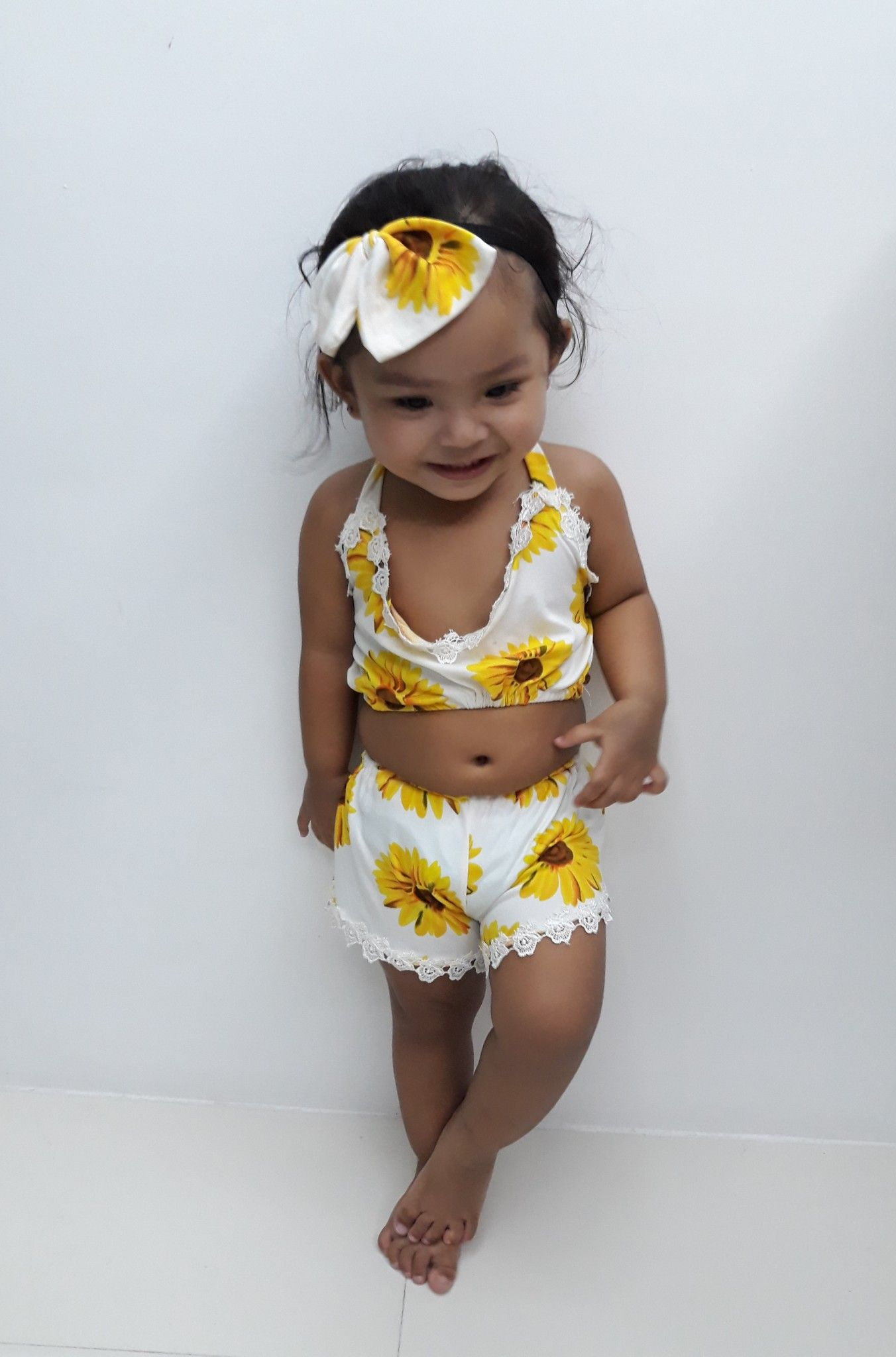 d72b1f521 My 2 yo baby wearing this cute sunflower outfit I bought (at a very ...
