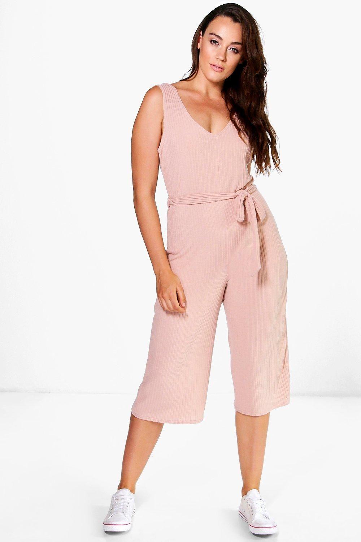 7cebb8a541029 Plus Gracie Ribbed Belted Jumpsuit | Plus Size | Jumpsuit, Fashion ...