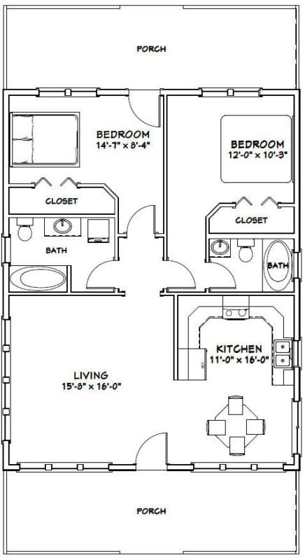 28x36 House 2 Bedroom 2 Bath Pdf Floor Plan 1 008 Sq Ft Model 1 Small House Floor Plans House Plans Floor Plans
