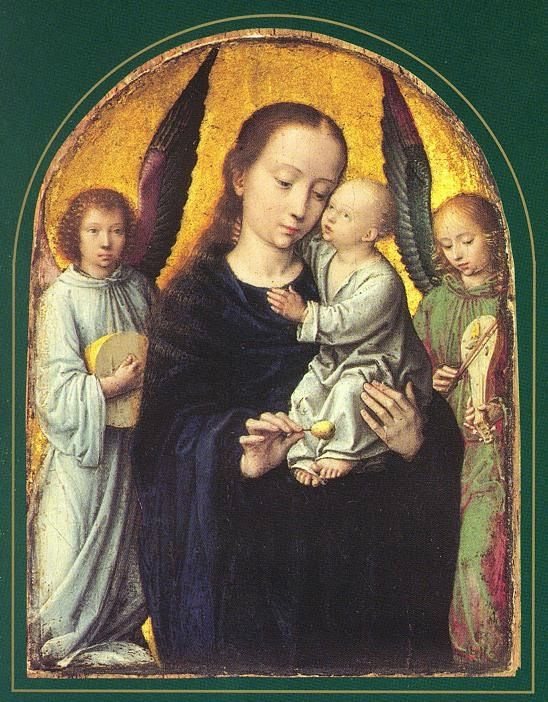 TICMUSart: Mary and Child with Two Angels Making Music - Gerard David (1495-1498) (I.M.)
