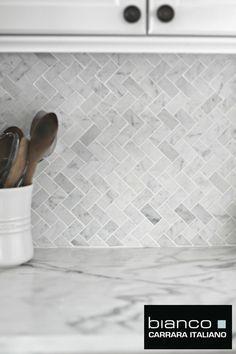 Room Scenes Carrara Herringbone Backsplash Final Reveal Marble Herringbone White Herringbone Backsplash Kitchen Remodel