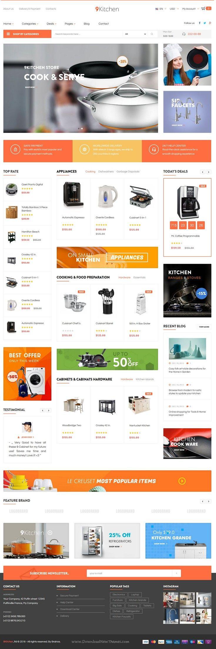 Pts Kitchen Is Advanced Responsive Prestashop Theme For Kitchen Supplies Store Website Comes With Prestashop Themes Kitchen Design Website Front Web Design