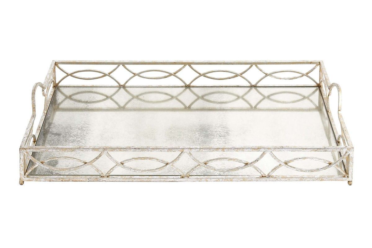 White Decorative Tray Simple Modern Reflections Distressedfinish Frosted Mirrored Serving Tray Design Inspiration