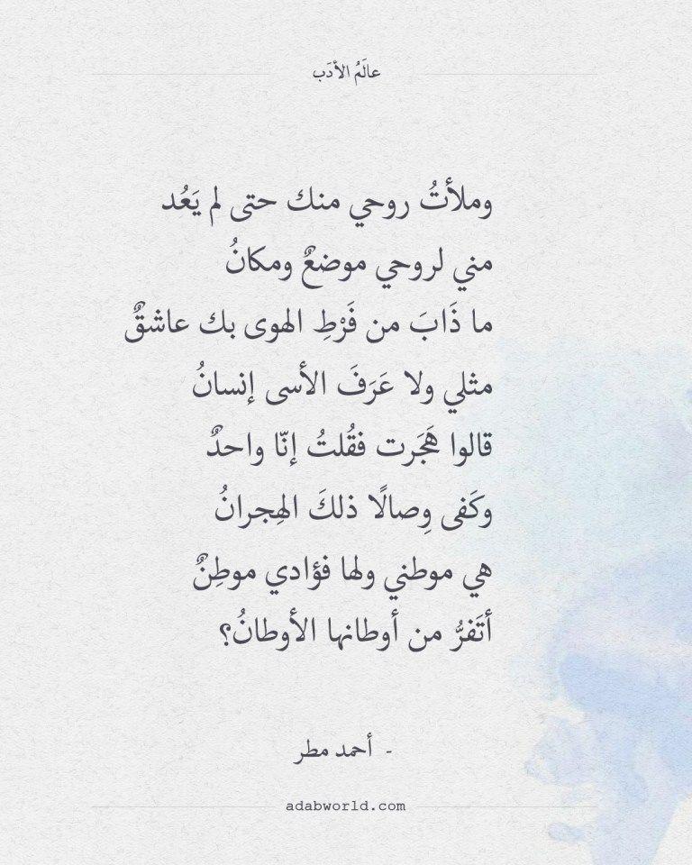 شعر أحمد مطر وملأت روحي منك حتى لم يعد عالم الأدب Wisdom Quotes Sweet Love Quotes One Word Quotes