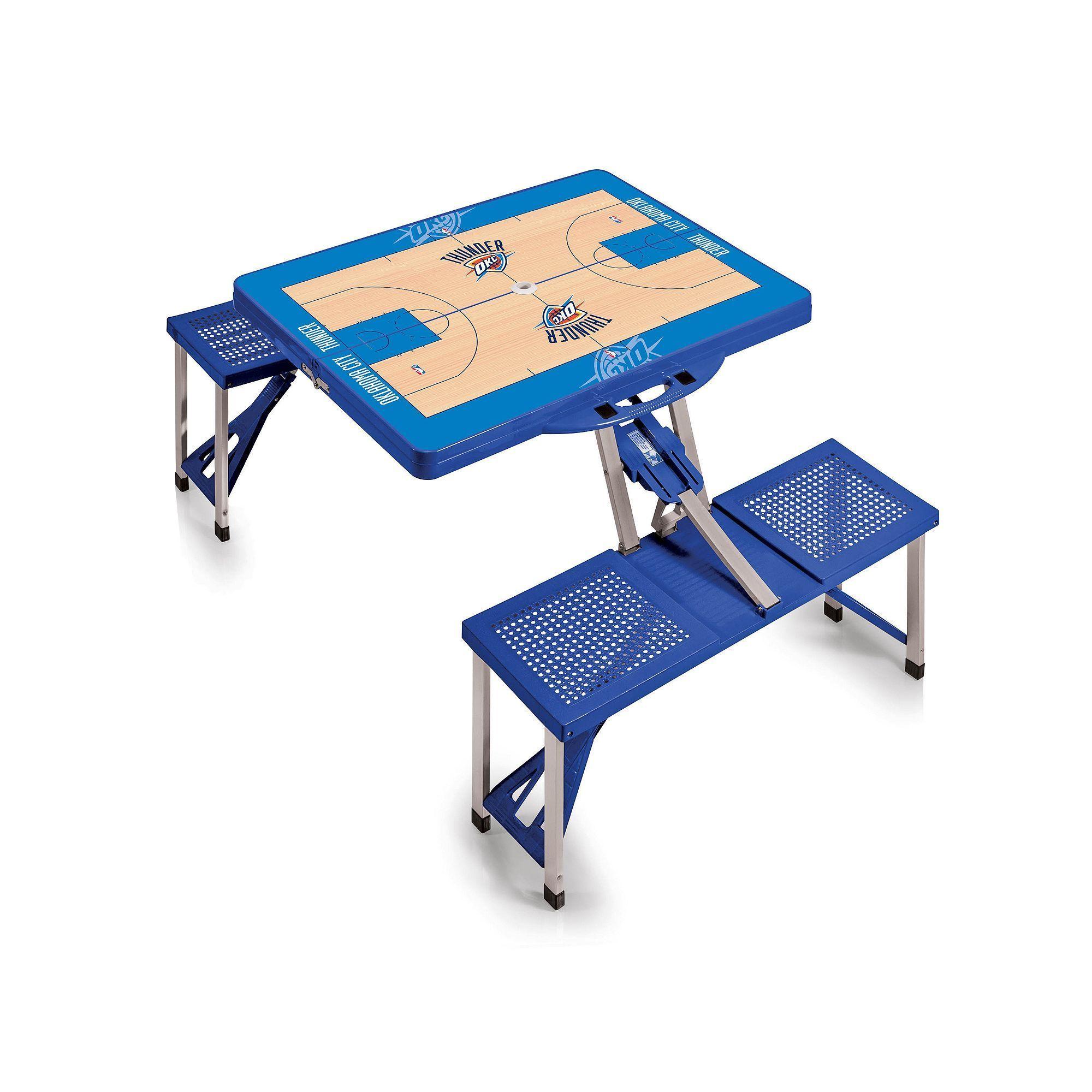 Outdoor Picnic Time Oklahoma City Thunder Portable Folding Picnic Table,  Blue