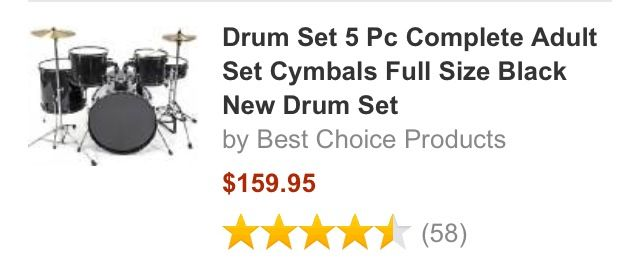 Best deal on an adult drum set.  Amazon
