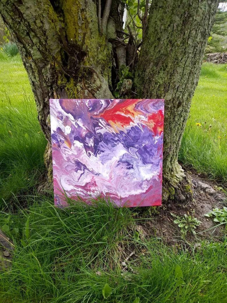 10x10 Girls Bedroom: Pink And Purple Fluid Art On Canvas 10x10 Wall Art