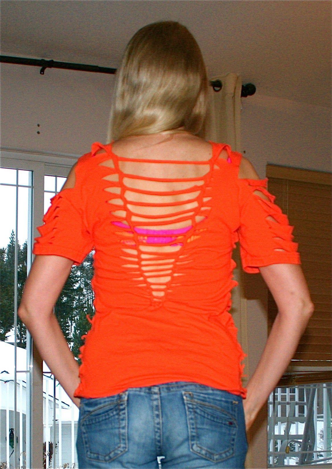 T-shirt design for zumba - Cute Ways To Cut A T Shirt Cool Cut Up T Shirt Musings