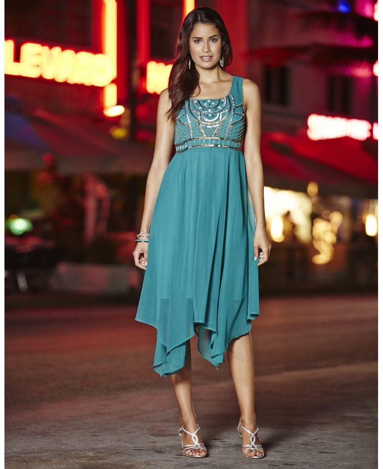 embellished hanky hem dress | plus size {cocktail dresses for