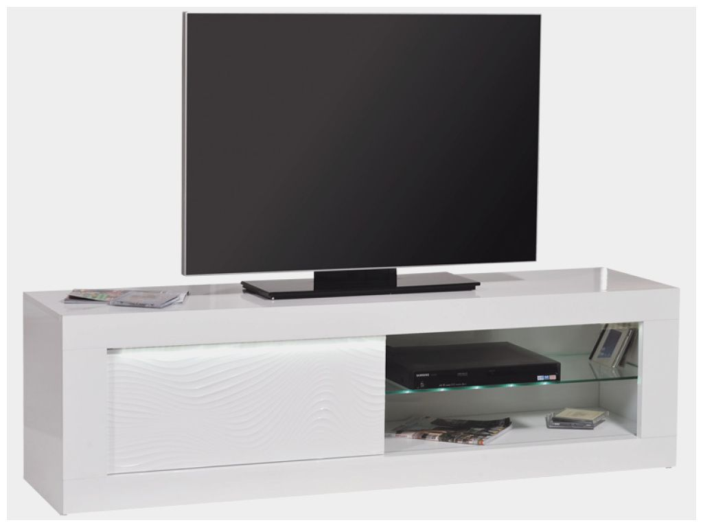 Genial Meuble Tv Blanc Laque Avec Led Conforama Avec Images