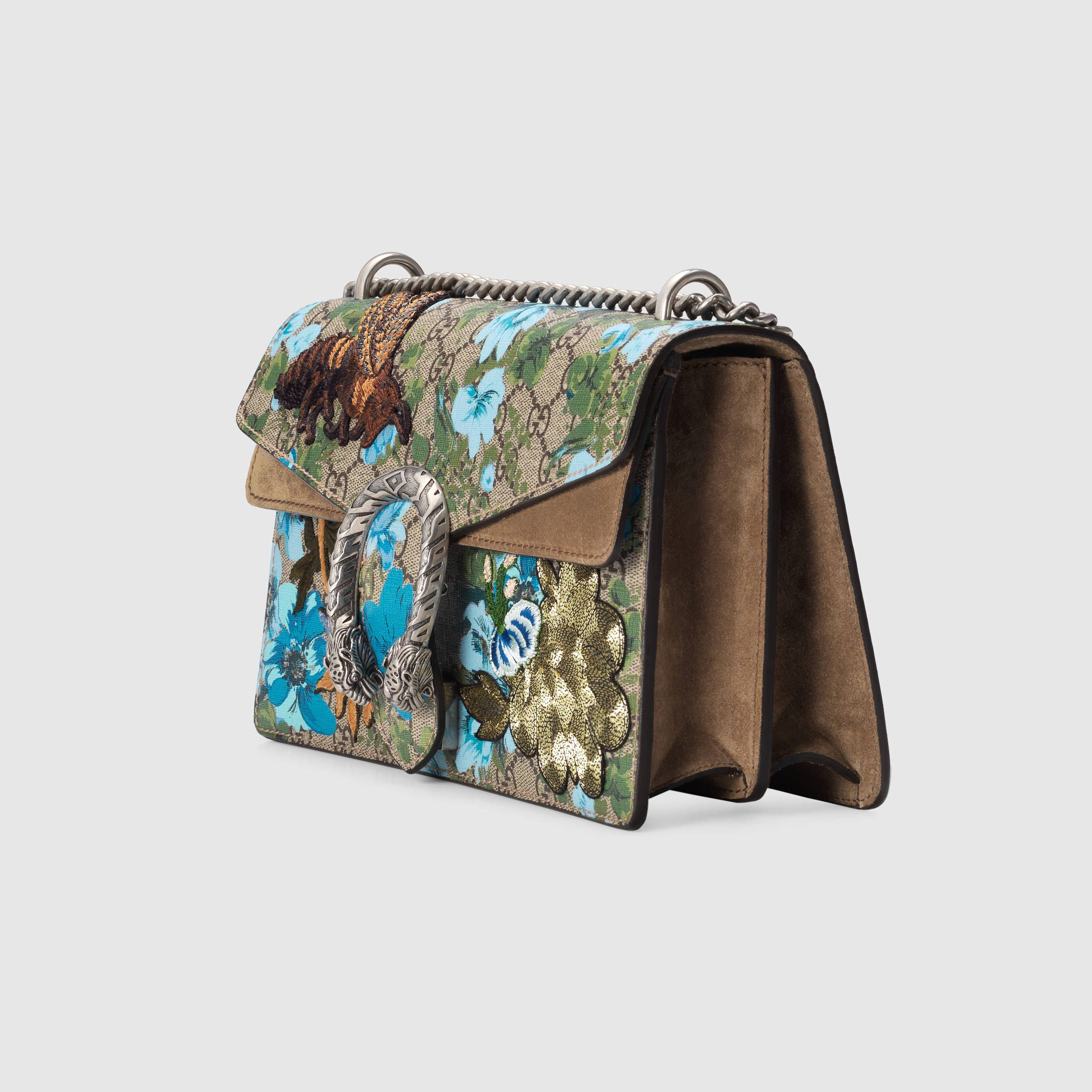 66acab69e04 Gucci Women - Gucci Dionysus Structured Beige Ebony GG Supreme canvas  shoulder bag w Painted Flowers and patches w taupe suede on the sides -   3