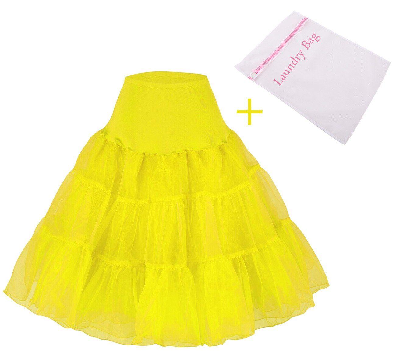 Tidetell Vintage 50s Rockabilly Crinoline Tutu Skirt Petticoat Bridal Slip+Bag Yellow