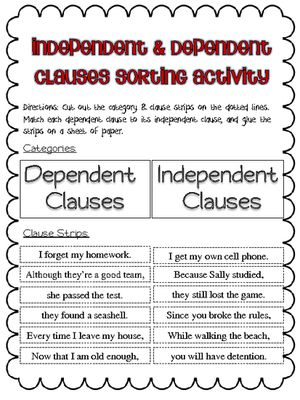clauses sort more - Independent And Dependent Clauses Worksheet