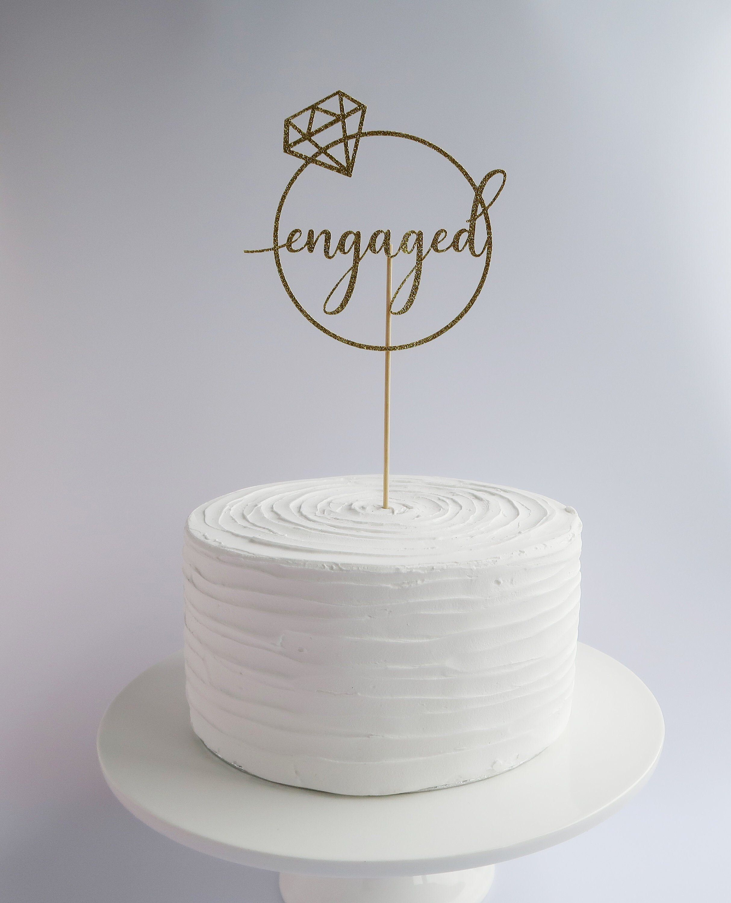 Engaged glitter cake topper engagement party decor by