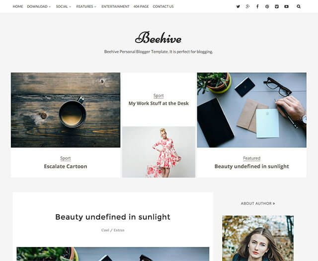 Beehive is a unique personal free blogger template
