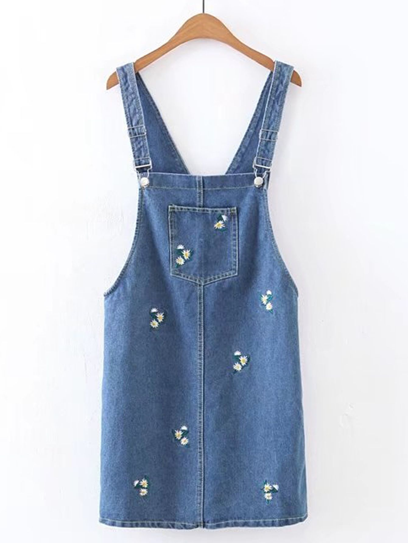 d23b7e8c17 Shop Flower Embroidery Denim Overall Dress online. SheIn offers Flower  Embroidery Denim Overall Dress   more to fit your fashionable needs.