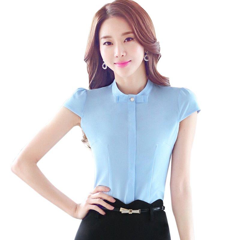 ed6c2535569ff Cheap Mujer blusas de manga corta para 2016 moda de verano ropa OL Formal  elegante delgado arco blusa más el tamaño S 4XL para mujer de la oficina  tops