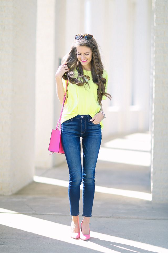 Pops of Neon with DSW... (Southern Curls & Pearls) | Neon outfits ...