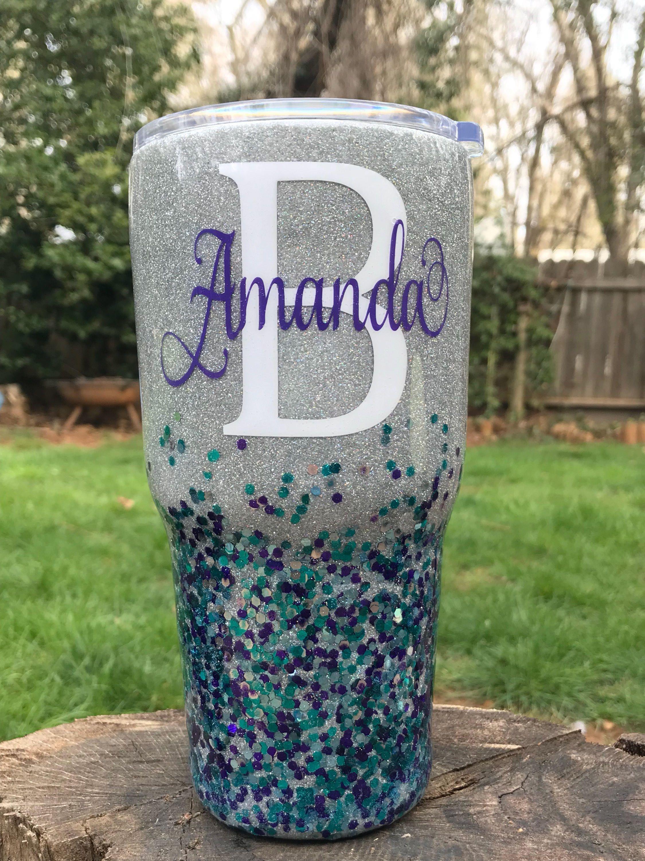 c8449a3041b Confetti glitter personalized name tumbler, Mardi Gras colored cup ...