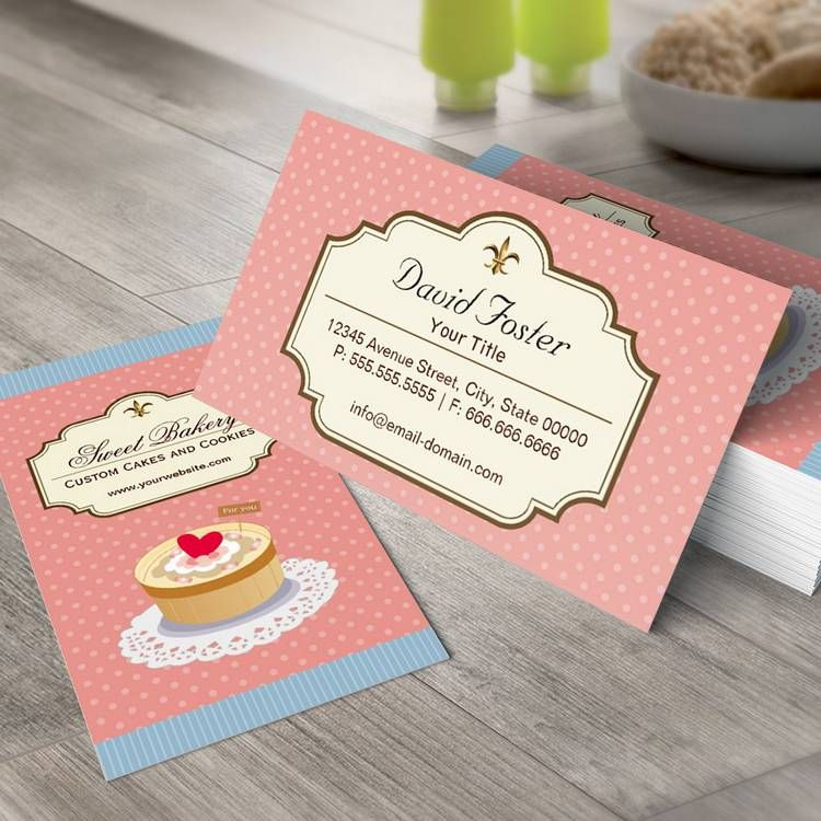 Custom Cakes and Cookies Dessert Bakery Shop Business Card Templates ...