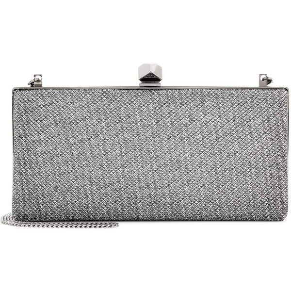 Jimmy Choo Celeste Glitter Clutch (£650) ❤ liked on Polyvore featuring bags, handbags, clutches, silver, jimmy choo purses, jimmy choo clutches, jimmy choo handbags, silver glitter purse and silver glitter handbag