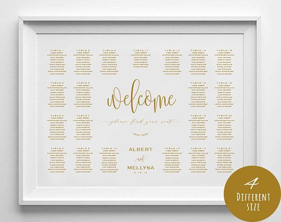 Gold Wedding Seating Chart Printable Landscape Template  Seating