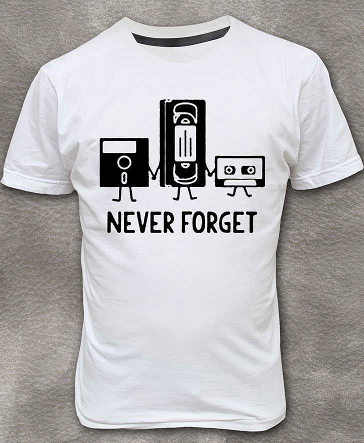 Never Forget Floppy Disk, VHS Cassette, Tape T-shirt Round Neck Short Sleeve Size M - XL http://www.armosport.com/?p=821