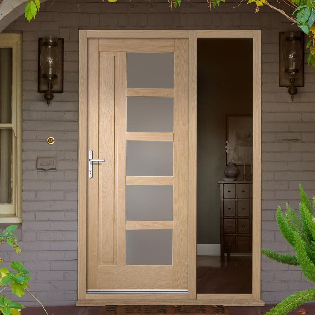 Lucca Oak Door With Obscure Double Glazing And Frame Set With One