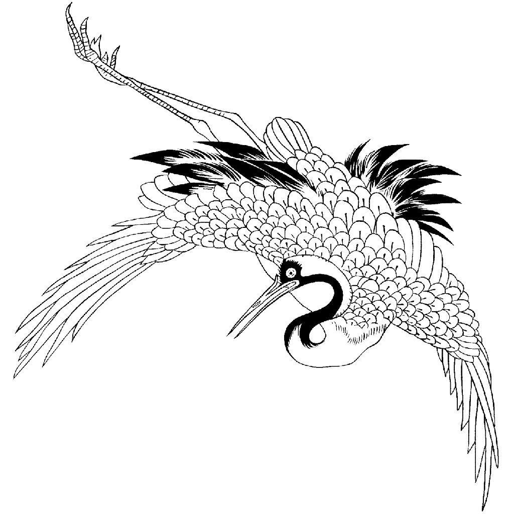Left Crane 823K Japanese tattoo, Japanese embroidery