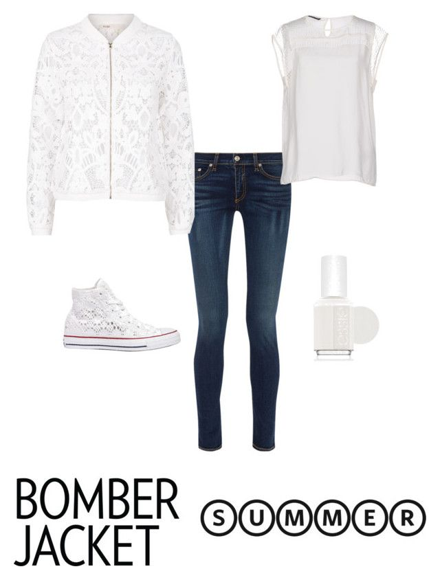 """""""White"""" by cherrypie13 ❤ liked on Polyvore featuring Converse, Essie, rag & bone, ONLY, Maje and bomberjackets"""